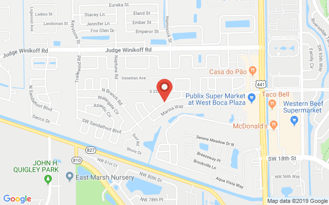 Google map image of location SW Sandalfoot Blvd, Boca Raton, FL 33428, USA